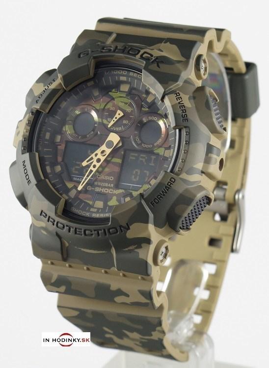 Pánske športové hodinky CASIO GA 100CM-5A G-Shock Camouflage Series +  Darček na 1e8c743a6f3