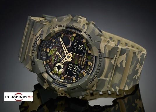 Pánske športové hodinky CASIO GA 100CM-5A G-Shock Camouflage Series +  Darček na 60468da8b5
