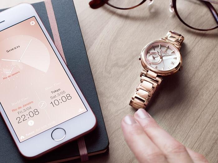 611e7d155f Dámske hodinky CASIO SHB 100CG-4A SHEEN Solar