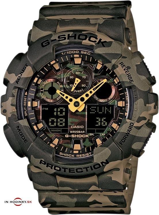 Pánske športové hodinky CASIO GA 100CM-5A G-Shock Camouflage Series +  Darček na zväčšiť obrázok a19b15360c3