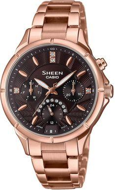 Dámske hodinky CASIO SHE-3047PG-5AUER SHEEN Swarovski® Crystals