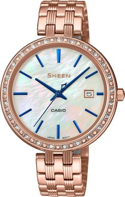 Dámske hodinky CASIO SHE 4052PG-2A SHEEN Swarovski® Crystals