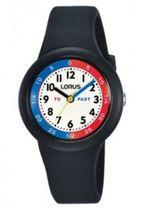 634bb824425a3 Detské hodinky LORUS v čiernom farebnom prevedení a farebným ciferníkom s  čiernymi arabskými číslicami. Vodotesnosť WR 100 m.
