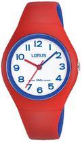fa883942edab2 Detské farebné hodinky LORUS RRX03GX9 so športovým dizajnom majú  červeno-modrý kaučukový remienok a plastové púzdro. Ciferník hodiniek je  bielej farby, ...