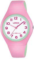 ae4544cd52a67 Dievčenské farebné hodinky LORUS RRX07GX9 so športovým dizajnom majú  ružovo-mentolový kaučukový remienok a plastové púzdro. Ciferník hodiniek je  bielej ...