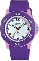 828514dfc Detské športové hodinky LORUS RRX19GX9 majú fialový kaučukový remienok a  plastové púzdro v fialovo-ružovej úprave. Ciferník hodiniek je bielej farby  s ...