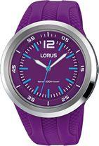 a7622c5dedff8 Detské farebné hodinky LORUS RRX23EX9 so športovým dizajnom majú fialový  kaučukový remienok a plastové púzdro v striebornej farbe. Ciferník hodiniek  je ...