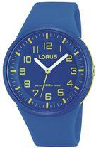 53fe1a8bbea1d Detské hodinky LORUS RRX51DX9 so športovým dizajnom majú modrý kaučukový  remienok a plastové púzdro taktiež v modrej farbe. Ciferník hodiniek je  modrý, ...