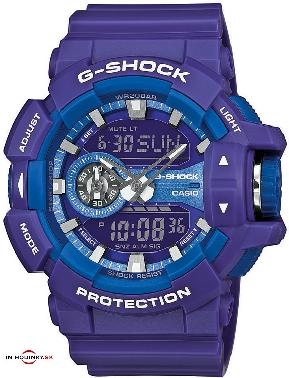 Pánske športové hodinky CASIO GA 400A-6A fialová pastelová farba G-Shock 78a09ce2764